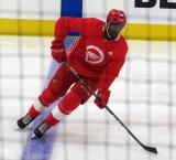 Givani Smith skates at the blue line before a scrimmage at the Detroit Red Wings' 2018 Development Camp.