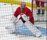 Victor Brattstrom comes out to the top of his crease during pre-game warmups before a scrimmage at the Detroit Red Wings' 2018 Development Camp.