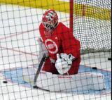 Victor Brattstrom stops a shot during pre-game warmups before a scrimmage at the Detroit Red Wings' 2018 Development Camp.