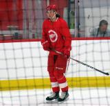 Malte Setkov skates during pre-game warmups before a scrimmage at the Detroit Red Wings' 2018 Development Camp.