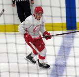 Pavel Gogolev skates across the blue line during a scrimmage at the Detroit Red Wings' 2018 Development Camp.
