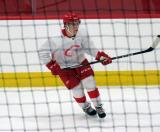 Jonatan Berggren skates near the boards during a scrimmage at the Detroit Red Wings' 2018 Development Camp.