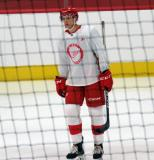 Alec Regula stands during a scrimmage at the Detroit Red Wings' 2018 Development Camp.
