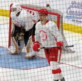 Joe Veleno skates past Justin Fazio's crease during a scrimmage at the Detroit Red Wings' 2018 Development Camp.