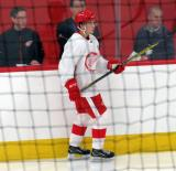 Taro Hirose skates near the boards during a scrimmage at the Detroit Red Wings' 2018 Development Camp.