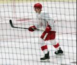 Alec Regula skates during a scrimmage at the Detroit Red Wings' 2018 Development Camp.