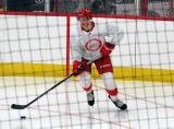 Alec Regula carries the puck out of the corner during a scrimmage at the Detroit Red Wings' 2018 Development Camp.
