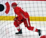 Trevor Yates skates near the boards during a scrimmage at the Detroit Red Wings' 2018 Development Camp.