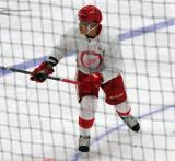 Cole Fraser skates in the neutral zone during a scrimmage at the Detroit Red Wings' 2018 Development Camp.
