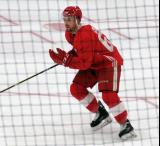 Brady Gilmour skates during a scrimmage at the Detroit Red Wings' 2018 Development Camp.