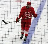 Lane Zablocki skates along the blue line during a stop in play in a scrimmage at the Detroit Red Wings' 2018 Development Camp.