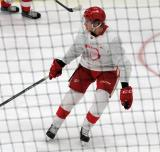 Dennis Cholowski skates during a scrimmage at the Detroit Red Wings' 2018 Development Camp.