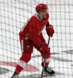 Marcus Crawford skates at the blue line during a scrimmage at the Detroit Red Wings' 2018 Development Camp.