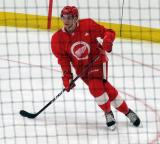 Marcus Crawford skates through a faceoff circle during a scrimmage at the Detroit Red Wings' 2018 Development Camp.