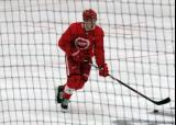 Filip Zadina skates with the puck during a scrimmage at the Detroit Red Wings' 2018 Development Camp.