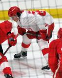 Zach Gallant lines up for a faceoff during a scrimmage at the Detroit Red Wings' 2018 Development Camp.