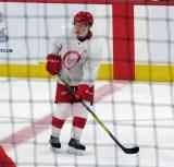 Otto Kivenmaki skates in the neutral zone during a scrimmage at the Detroit Red Wings' 2018 Development Camp.