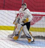 Kaden Fulcher stands in his crease during a scrimmage at the Detroit Red Wings' 2018 Development Camp.