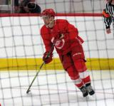 Lane Zablocki skates in the corner during a scrimmage at the Detroit Red Wings' 2018 Development Camp.