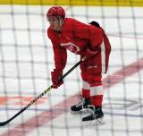Luke Morgan gets set for a faceoff during a scrimmage at the Detroit Red Wings' 2018 Development Camp.