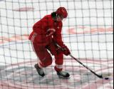 Malte Setkov gets set for a shootout attempt after a scrimmage at the Detroit Red Wings' 2018 Development Camp.