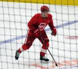 Filip Zadina begins his shootout attempt after a scrimmage at the Detroit Red Wings' 2018 Development Camp.