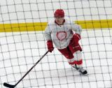 Kasper Kotkansalo begins his shootout attempt after a scrimmage at the Detroit Red Wings' 2018 Development Camp.