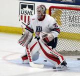 Alex Nedeljkovic stands in his crease during pre-game warmups before the 2018 Stars & Stripes Showdown.