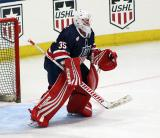 Jimmy Howard comes out to the top of his crease during pre-game warmups before the 2018 Stars & Stripes Showdown.