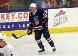 Cam Atkinson skates near the boards during the 2018 Stars & Stripes Showdown.