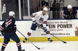 James van Riemsdyk of Team White looks to make a pass around Matthew Tkachuk of Team Blue during the 2018 Stars & Stripes Showdown.