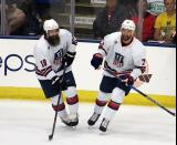 Patrick Eaves and Nick Foligno skate during the 2018 Stars & Stripes Showdown.