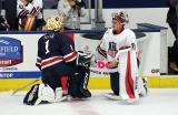 Dylan St. Cyr of Team Blue and Alex Nedeljkovic of Team White talk during a stop in play in the 2018 Stars & Stripes Showdown.