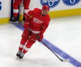 Anthony Mantha skates at the blue line during pre-game warmups before the Red Wings' home opener against the Columbus Blue Jackets.