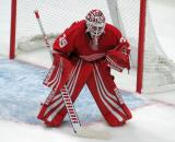 Jimmy Howard gets set in his crease during the Red Wings' home opener against the Columbus Blue Jackets.