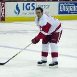 Jamie Rivers waits inside the blueline for the puck during pregame warmups.