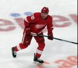 Christoffer Ehn skates during the Red Wings' home opener against the Columbus Blue Jackets.