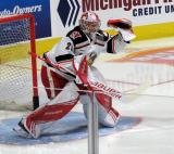 Harri Sateri gets set in his crease during pre-game warmups before a game between the Grand Rapids Griffins and the Chicago Wolves.