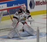 Patrik Rybar gets set in his crease during pre-game warmups before a game between the Grand Rapids Griffins and the Chicago Wolves.
