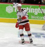 Turner Elson skates in the neutral zone during pre-game warmups before a game between the Grand Rapids Griffins and the Chicago Wolves.