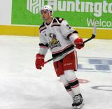 Dominic Turgeon skates in the neutral zone during pre-game warmups before a game between the Grand Rapids Griffins and the Chicago Wolves.