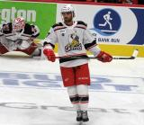 Jake Chelios skates in the neutral zone during pre-game warmups before a game between the Grand Rapids Griffins and the Chicago Wolves.