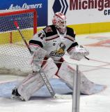 Patrik Rybar comes out to the top of his crease during pre-game warmups before a game between the Grand Rapids Griffins and the Chicago Wolves.