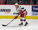 Vili Saarijarvi skates towards the goal during pre-game warmups before a game between the Grand Rapids Griffins and the Chicago Wolves.
