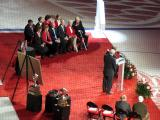 A view of the ceremony for Red Kelly's jersey number retirement.