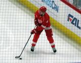 Justin Abdelkader skates during pre-game warmups, wearing Red Kelly's #4 on the night of its retirement.