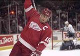 Steve Yzerman celebrates a goal in Anaheim.