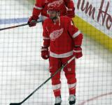 Thomas Vanek skates in the neutral zone during pre-game warmups, wearing Red Kelly's #4 on the night of its retirement.