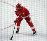 Andreas Athanasiou skates with a puck during pre-game warmups, wearing Red Kelly's #4 on the night of its retirement.