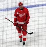 Niklas Kronwall skates during a stop in play in a game against the Toronto Maple Leafs.